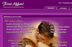 Screenshot Webseite First Affair